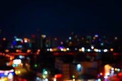 Fond abstrait de nuit de bokeh l?ger de ville photos libres de droits
