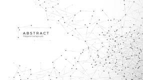 Fond abstrait de particules Réseau de désordre Noeuds reliés en Web Grandes données de rangée futuriste de plexus illustration de vecteur