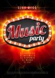 Fond abstrait de partie de musique pour la conception d'événement de musique Rétro cadre léger sur le fond rouge de flamme Illust Images stock