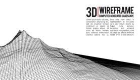 Fond abstrait de paysage de wireframe de vecteur Grille de cyberespace illustration de vecteur de wireframe de la technologie 3d  Photographie stock libre de droits