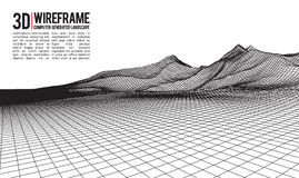 Fond abstrait de paysage de wireframe de vecteur Grille de cyberespace illustration de vecteur de wireframe de la technologie 3d  illustration stock