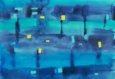 Fond abstrait de peinture bleue débordante Image stock