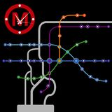 Fond abstrait de plan de métro de cru Image stock