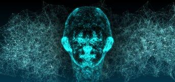 Fond abstrait de plexus de Mesh Of Human Head On de connexion réseau Photographie stock libre de droits