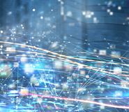Fond abstrait de réseau de connexion internet avec des effets de mouvement Photo libre de droits