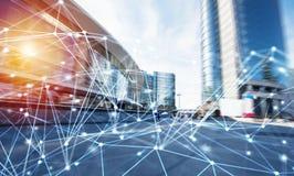 Fond abstrait de réseau de connexion internet avec des effets de mouvement Photo stock