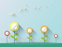 Fond abstrait de ressort avec les fleurs de papier avec l'espace pour la conception Photos libres de droits
