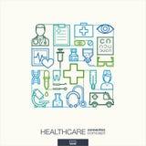 Fond abstrait de soins de santé, ligne mince intégrée symboles Image libre de droits