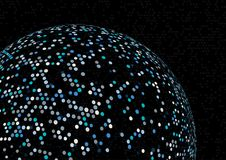 Fond abstrait de sphère avec les canalisations de raccordement et les points illustration libre de droits