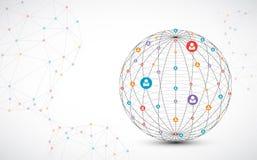 Fond abstrait de sphère de technologie Concept de réseau global illustration libre de droits