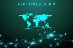 Fond abstrait de technologie avec la ligne et les points reliés Grande visualisation de données Intelligence artificielle et mach illustration stock