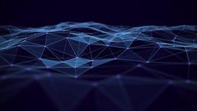 Fond abstrait de technologie Connexions r?seau avec des points et des lignes Wireframe futuriste de r?seau de fil de technologie  illustration stock