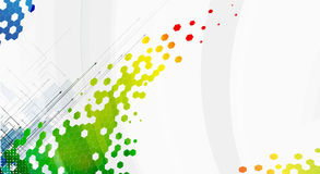 Fond abstrait de technologie d'hexagone de couleur avec la flèche Images libres de droits