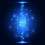 Fond abstrait de technologie de réseau global, vecteur Images stock