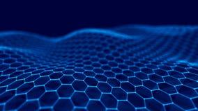 Fond abstrait de technologie Grande visualisation de donn?es Fond futuriste d'hexagone rendu 3d illustration libre de droits