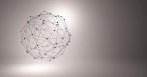 Fond abstrait de technologie Grille du fond 3d Wireframe futuriste de réseau de fil de technologie de la technologie AI de Cyber clips vidéos