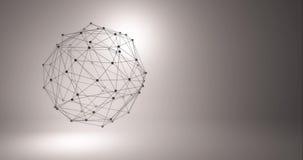 Fond abstrait de technologie Grille du fond 3d Wireframe futuriste de réseau de fil de technologie de la technologie AI de Cyber banque de vidéos