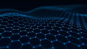 Fond abstrait de technologie Intelligence artificielle Fond futuriste de perspective d'hexagone rendu 3d illustration libre de droits
