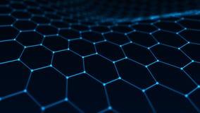 Fond abstrait de technologie Intelligence artificielle Fond futuriste de perspective d'hexagone rendu 3d illustration de vecteur