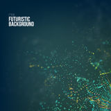 Fond abstrait de technologie La grille de vecteur de la technologie 3d de Digital avec des particules ébruitent la vague illustration libre de droits