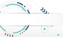 Fond abstrait de technologie numérique de cercle, blanc futuriste de concept d'éléments de structure illustration libre de droits