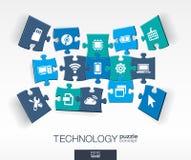 Fond abstrait de technologie, puzzles reliés de couleur, icônes plates intégrées concept 3d infographic avec la technologie, nuag Image libre de droits