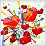 Fond abstrait de vacances de coeur d'explosion. Image libre de droits
