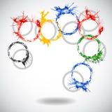 Fond abstrait de vecteur avec des anneaux d'aquarelle Images libres de droits