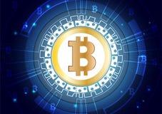 Fond abstrait de vecteur de devise numérique de Bitcoin pour le marketing en ligne Photos libres de droits