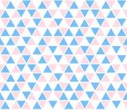Fond abstrait de vecteur, modèle sans couture La triangle blanche rose bleue forme la texture Badine le modèle de mosaïque géomét Images libres de droits