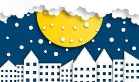 Fond abstrait de ville avec la lune dans la saison d'hiver à la nuit, vecteur, illustration, style de papier d'art, l'espace de c images stock
