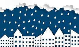 Fond abstrait de ville avec la lune dans la saison des pluies à la nuit, vecteur, illustration, style de papier d'art, l'espace d photographie stock