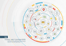 Fond abstrait de voyage et de tourisme Digital relient le système aux cercles intégrés, icônes plates de couleur illustration libre de droits