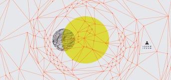 Fond abstrait dernier cri Rangée avec les particules dynamiques Élément moderne de la science ou de technologie Illustration de g illustration stock
