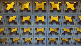 Fond abstrait des blocs et de l'éclairage décoratifs de ciment Photo libre de droits