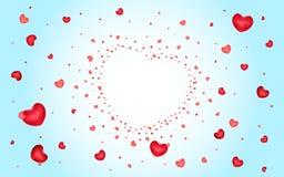 Fond abstrait des coeurs sur bleu-clair Image libre de droits