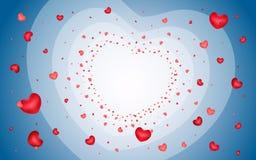 Fond abstrait des coeurs sur bleu-clair Photo libre de droits