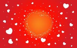 Fond abstrait des coeurs sur le rouge Photos libres de droits