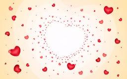 Fond abstrait des coeurs sur orange-clair Images stock