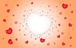Fond abstrait des coeurs sur rouge-clair Images stock