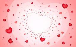 Fond abstrait des coeurs sur rouge-clair Images libres de droits