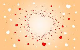 Fond abstrait des coeurs sur rouge-clair Image libre de droits