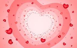 Fond abstrait des coeurs sur rouge-clair Photos stock