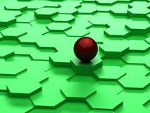 Fond abstrait des hexagones 3d et de la sphère rouge Photo libre de droits