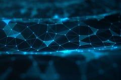 Fond abstrait des lignes et des points, basse poly maille Technologie de connexions internet Concept des connexions neurales image libre de droits