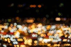 Fond abstrait des lumières bleues brouillées avec le bokeh Images stock