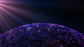 Fond abstrait des particules et des rayons de scintillement banque de vidéos