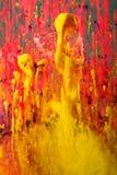 Fond abstrait des peintures rouges et jaunes Photo libre de droits