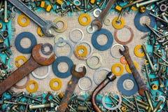 Fond abstrait des pièces et des outils Photo stock