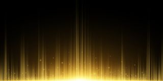 Fond abstrait des rayons d'or Effet de la lumi?re Lueur d'or volante de la poussière magique dans l'obscurité Illustration de vec illustration libre de droits